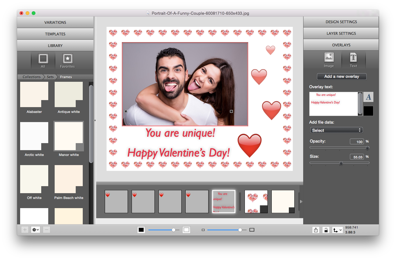 Valentine card with ImageFramer