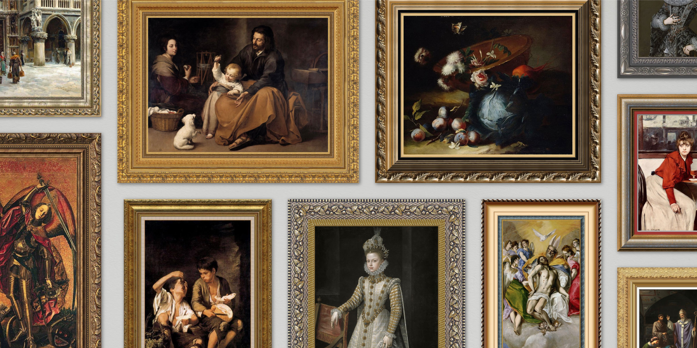 Framed paintings of the Renaissance and Baroque era.