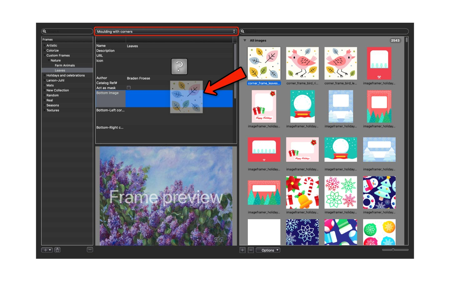 Place your image into the frame properties panel in ImageFramer