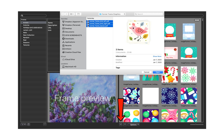 Importing images to ImageFramer