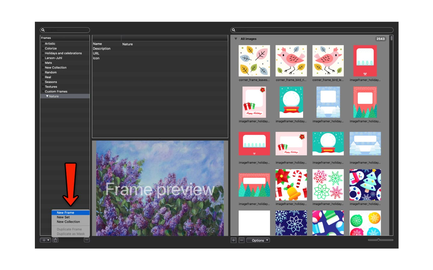 Creating a new frame in ImageFramer