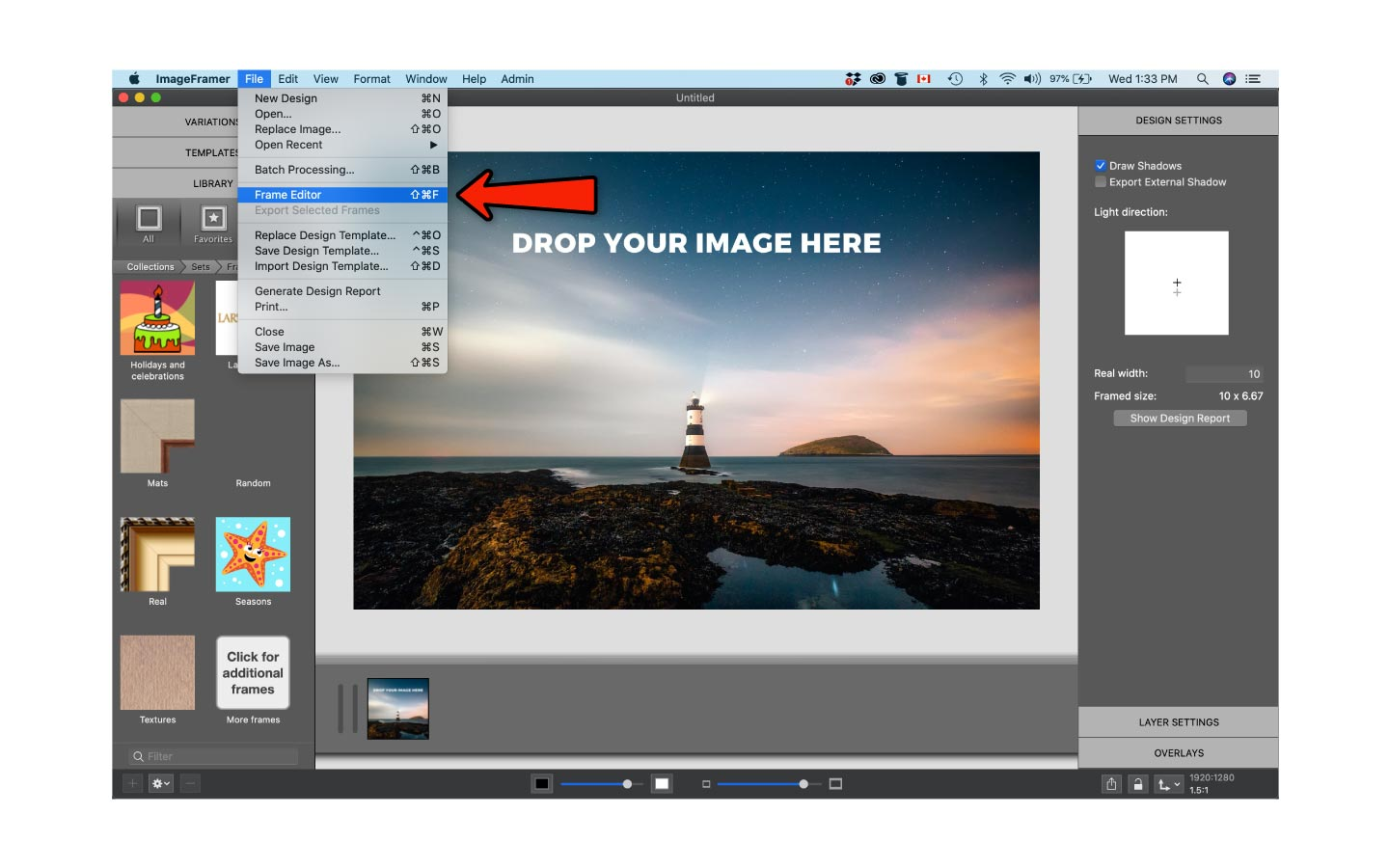 Create frame designs in ImageFramer
