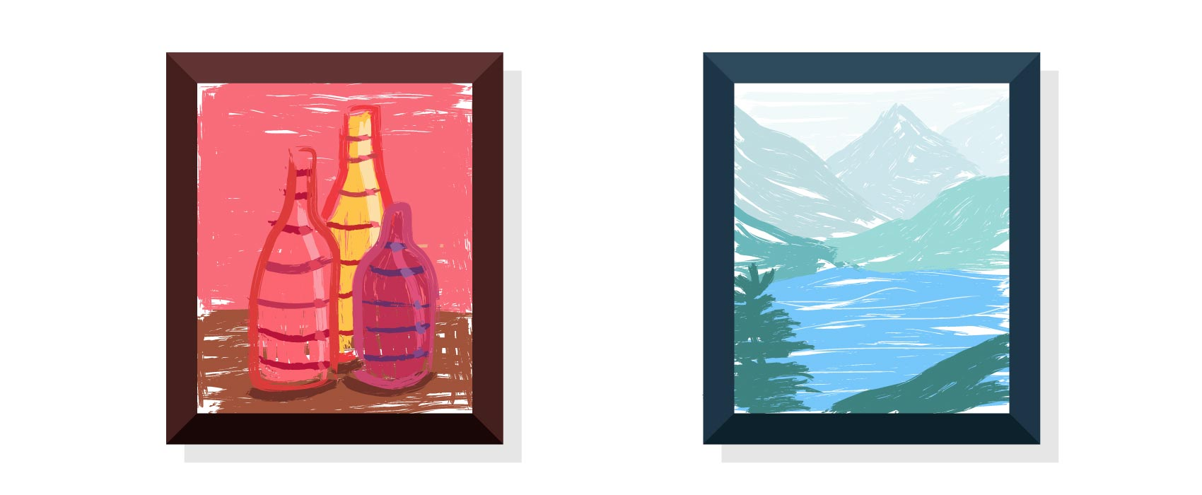 Warm and cool paintings framed with similar mood
