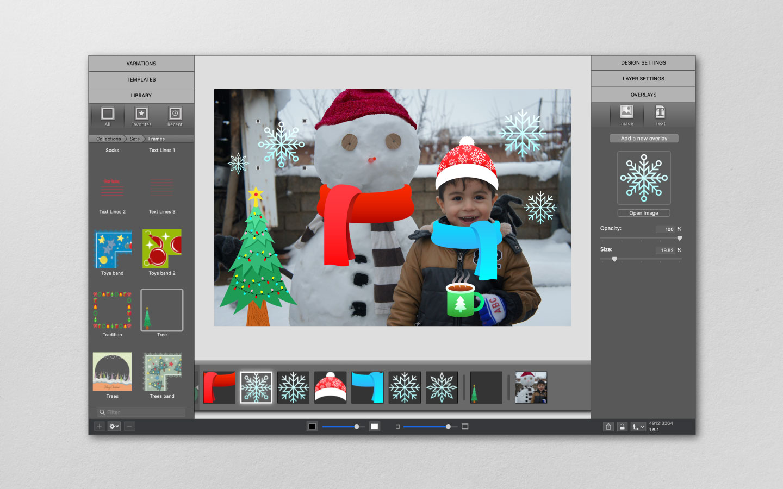 Winter scene made with sticker overlays in ImageFramer app