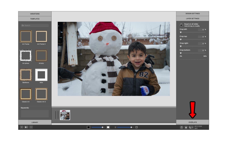 Overlay settings in ImageFramer