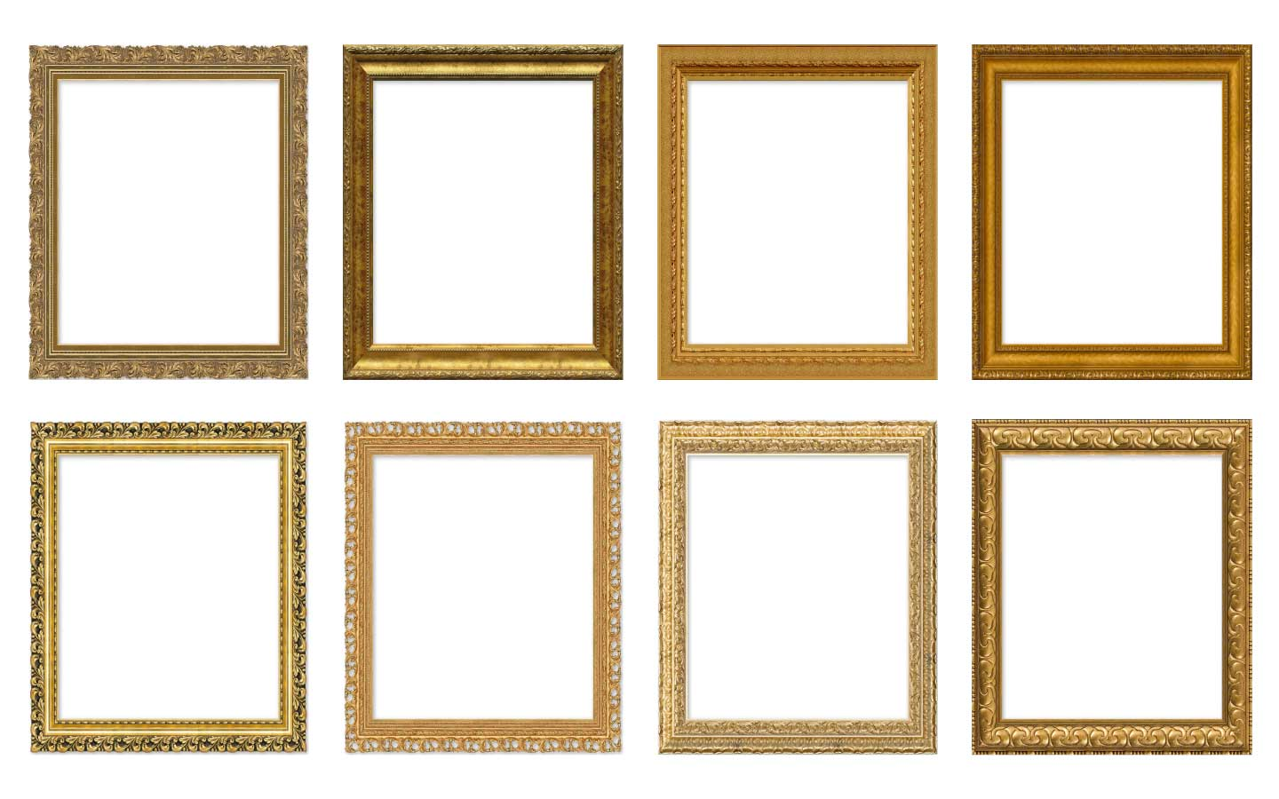 Gold frames in classic paintings and modern art