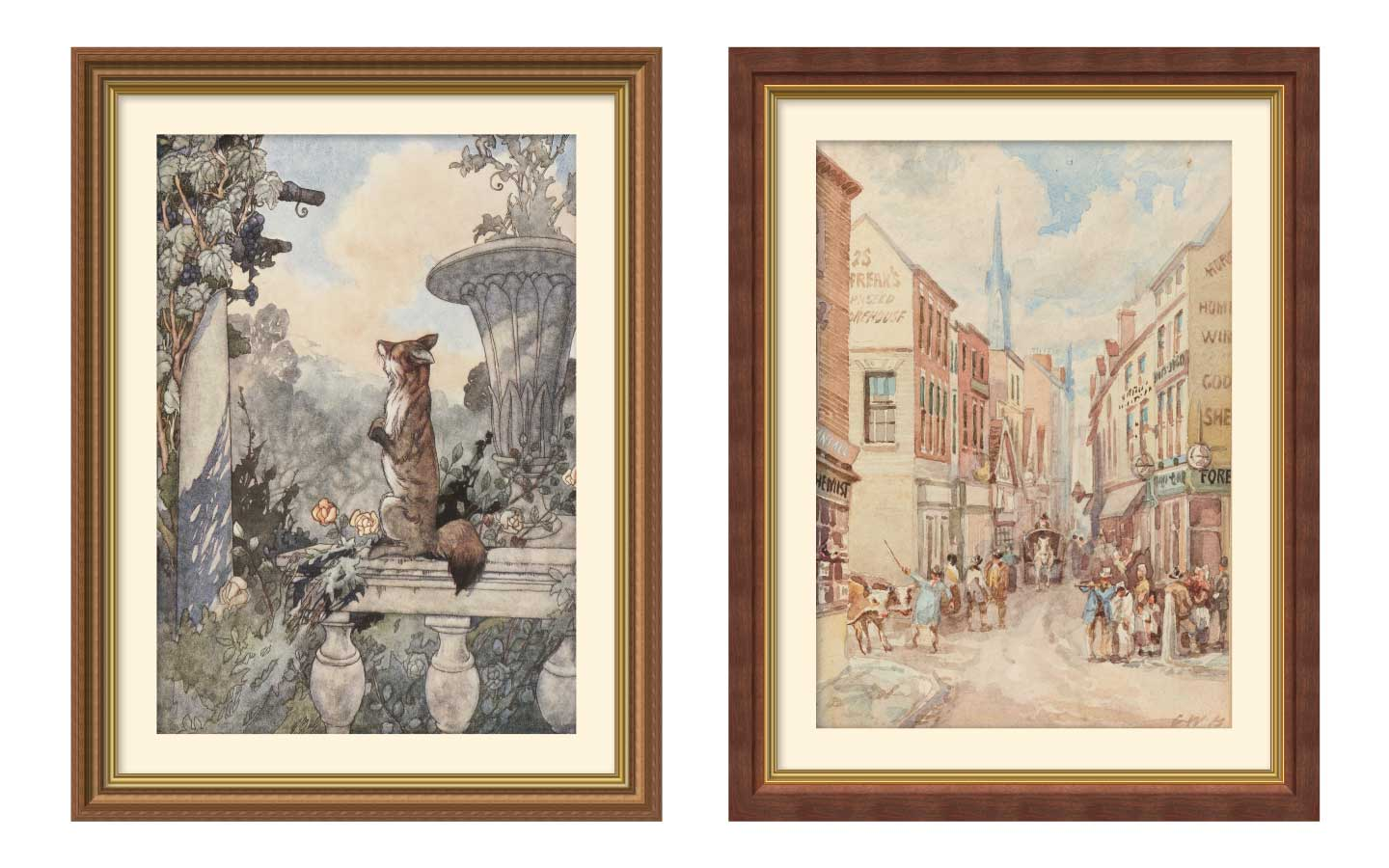Paintings framed with gold-detailed frames in ImageFramer