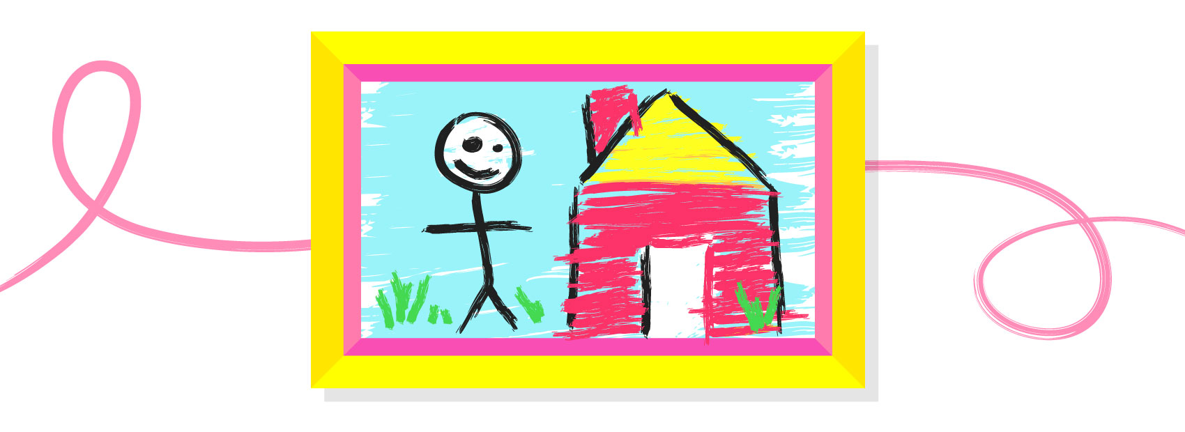children's drawing with bright and colorful frame