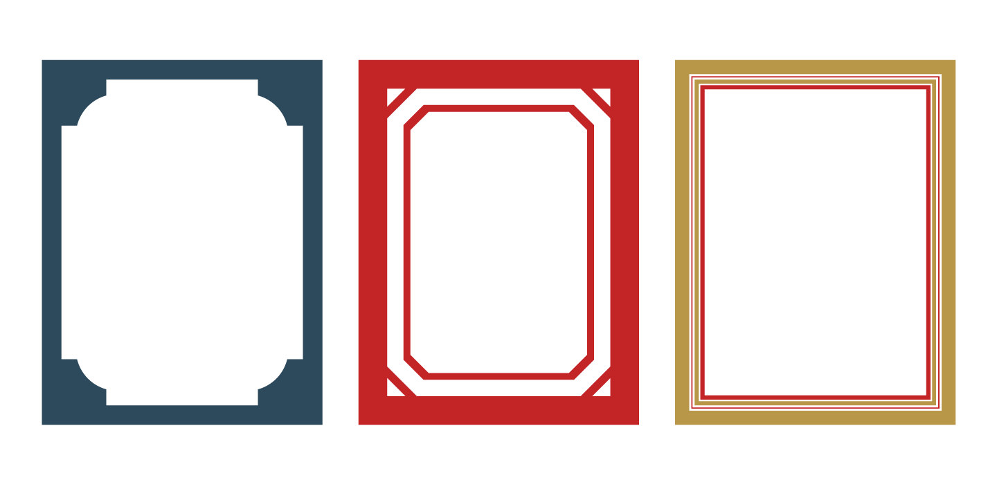 Mat designs with ornamentation, color accents