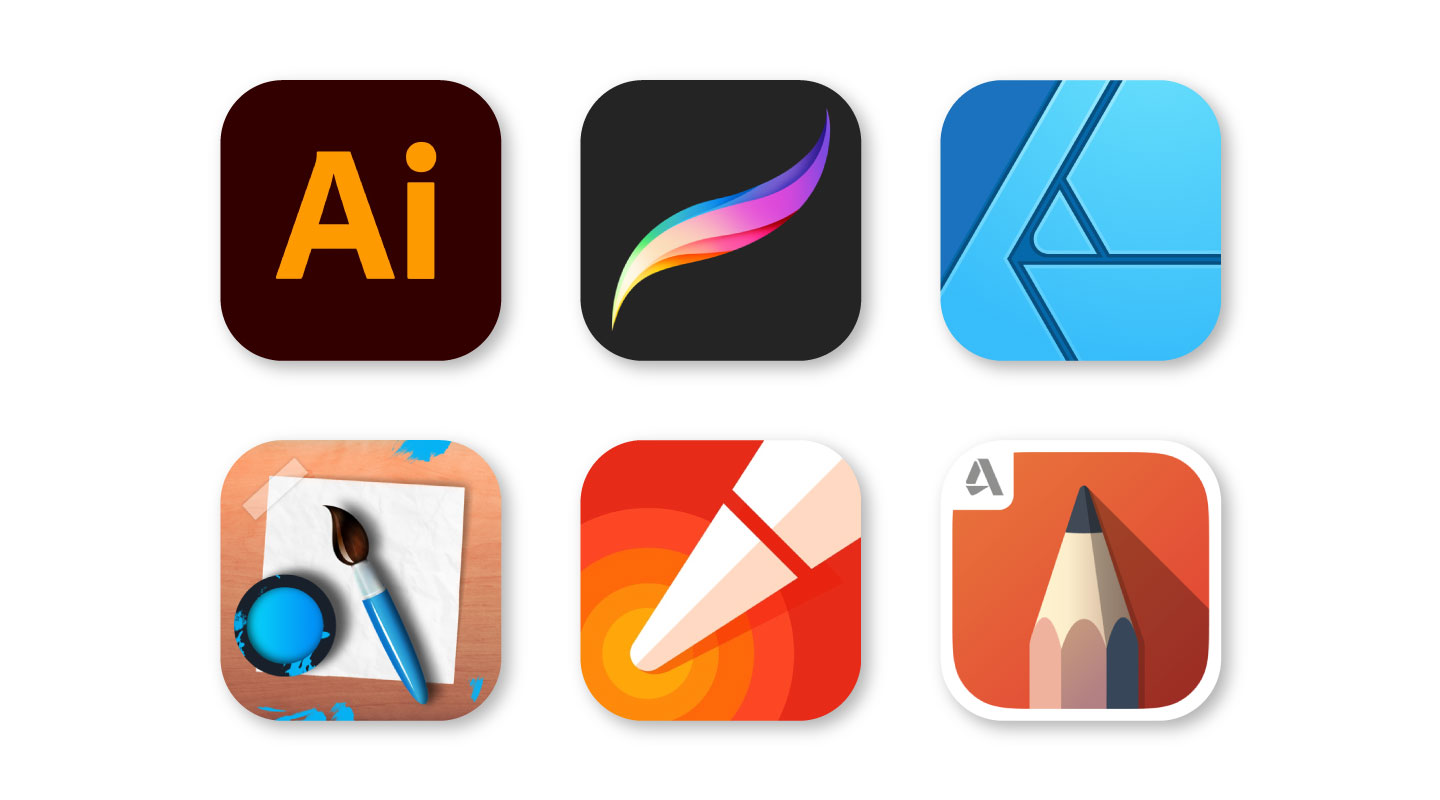 Icons of our favorite iPad drawing apps