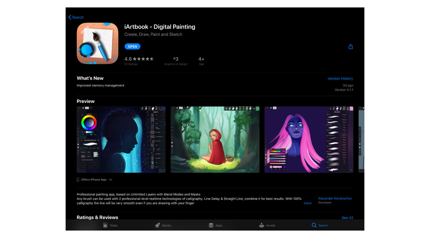Preview of iArtbook in the App Store