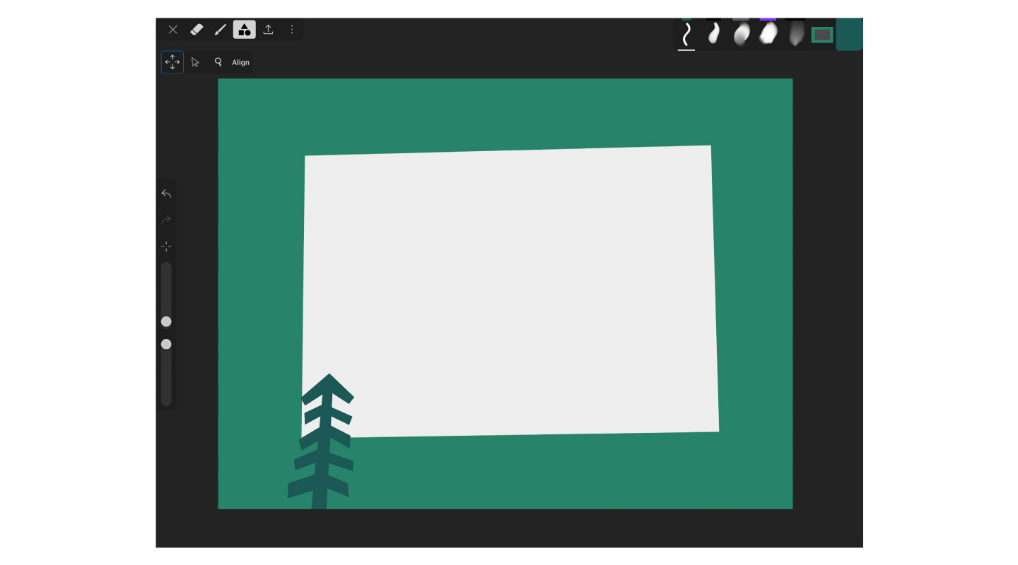 Drawing a frame in the iArtbook iPad drawing app