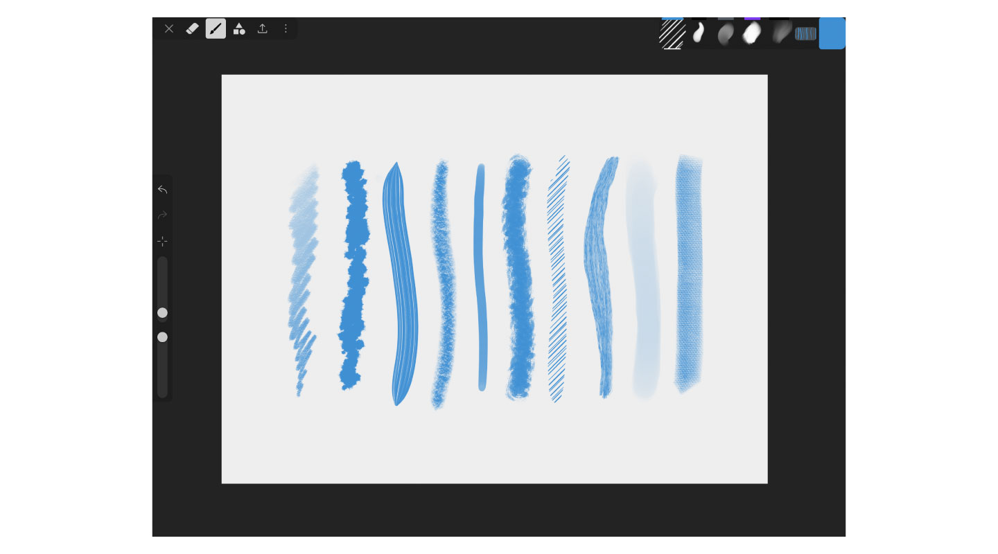 Various brush strokes in iArtbook