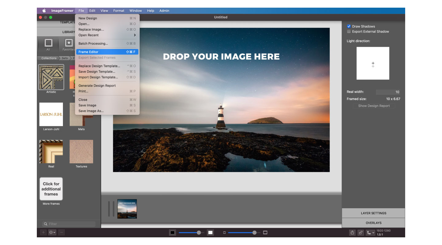 Opening the Frame Editor in ImageFramer