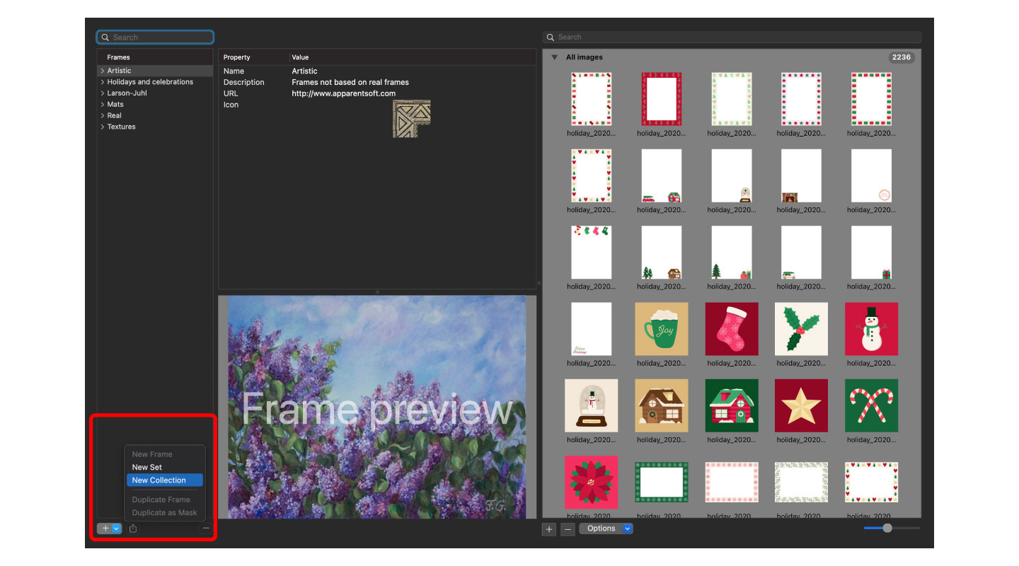 Creating a new collection in the Frame Editor